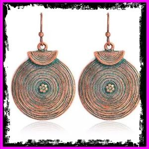 🆕 Ancient Tibetan Bronze Filigree Boho Earrings